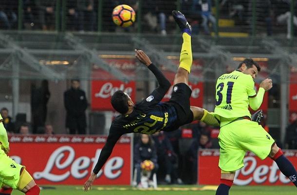 Jeison Murillo gol rovesciata Inter-Bologna Coppa Italia