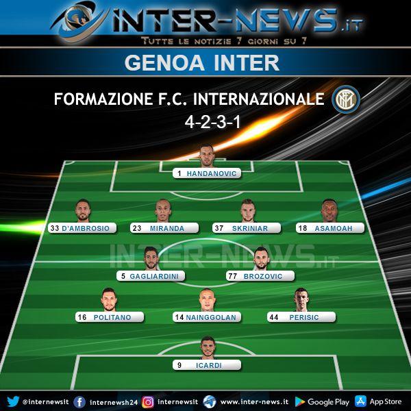 Genoa-Inter Formazione Ufficiale