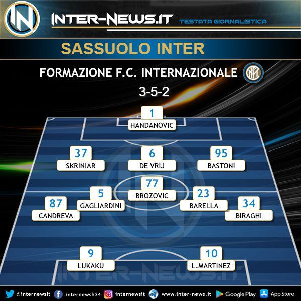 Sassuolo-Inter Formazione Ufficiale