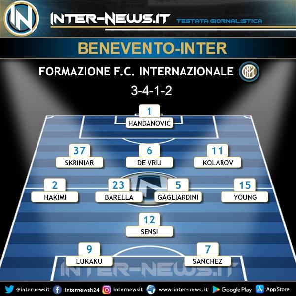 Benevento-Inter probabile formazione Conte