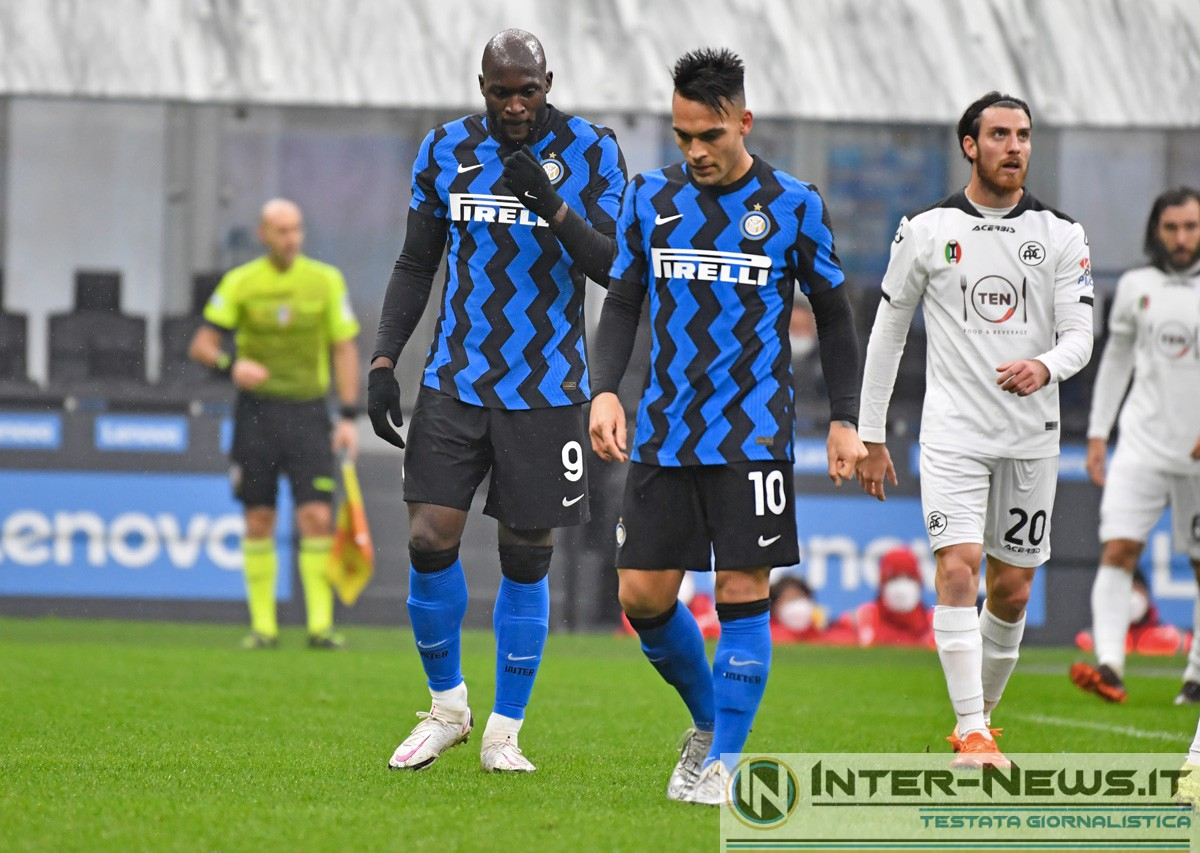 Romelu Lukaku e Lautaro Martinez in Inter-Spezia (Photo by Tommaso Fimiano, Copyright Inter-News.it)
