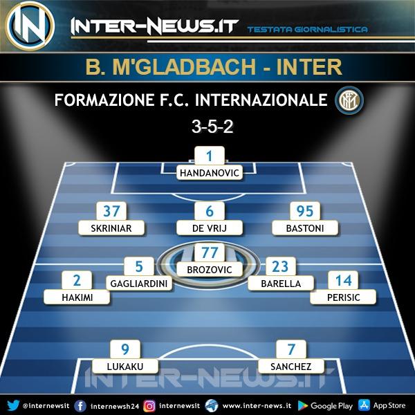 Borussia Monchengladbach-Inter formazione finale