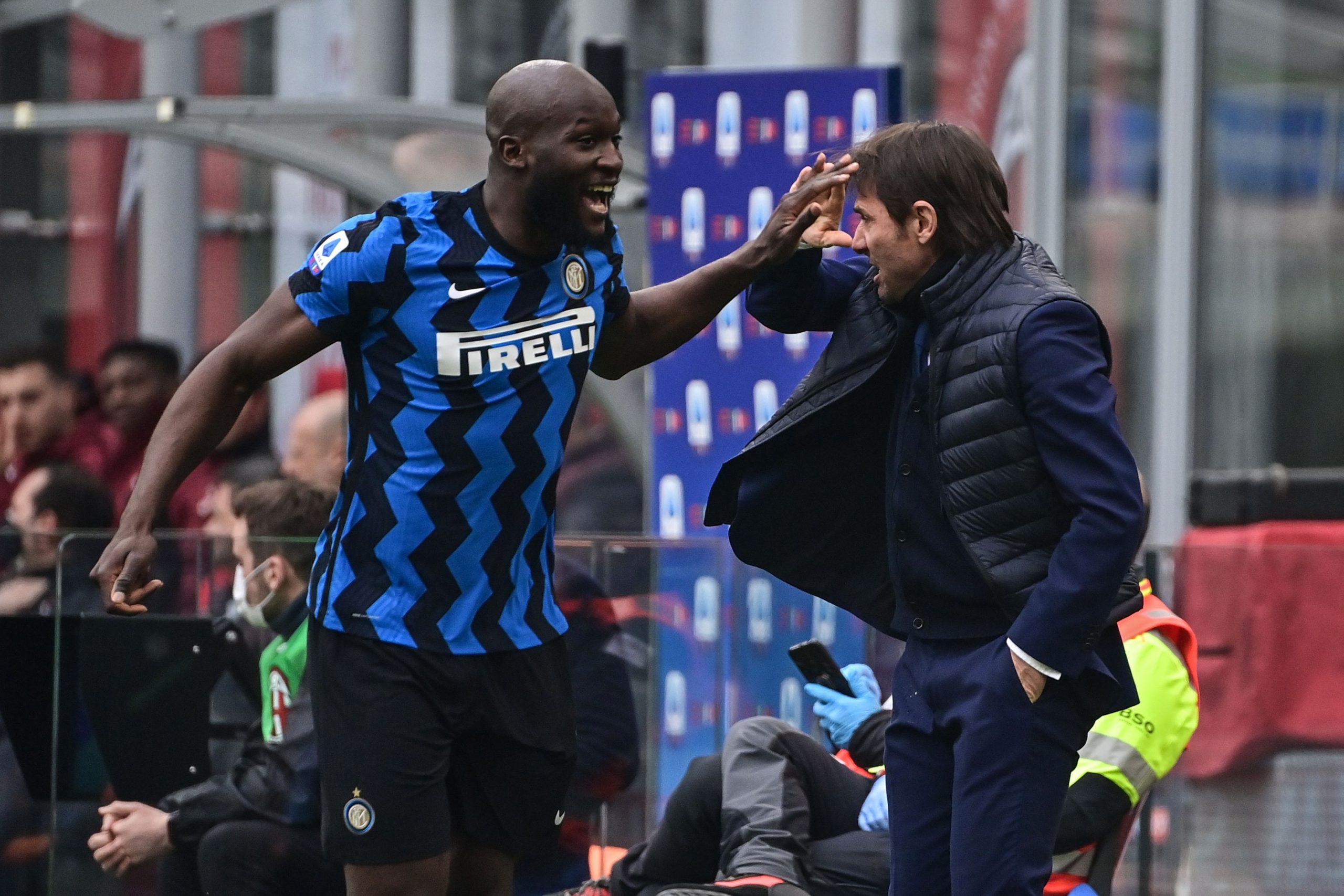 Romelu Lukaku e Antonio Conte in Milan-Inter