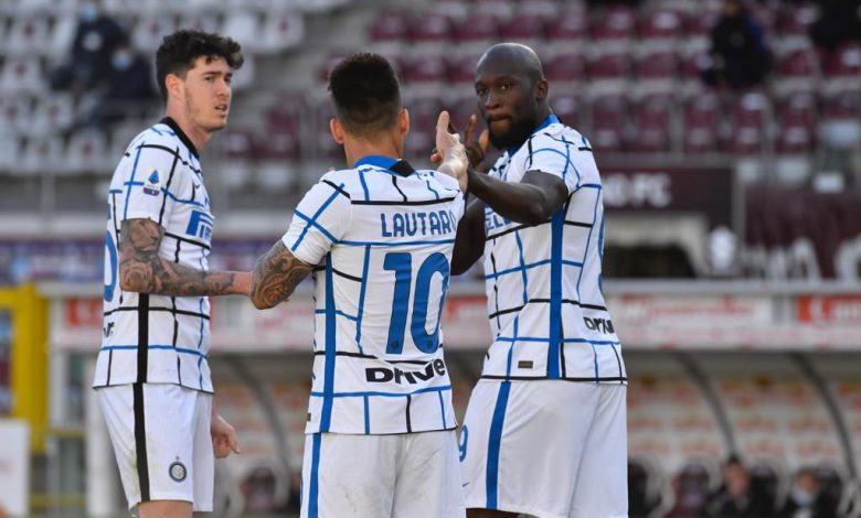 Alessandro Bastoni, Lautaro Martinez e Romelu Lukaku in Torino-Inter (Photo by Tommaso Fimiano, Copyright Inter-News.it)