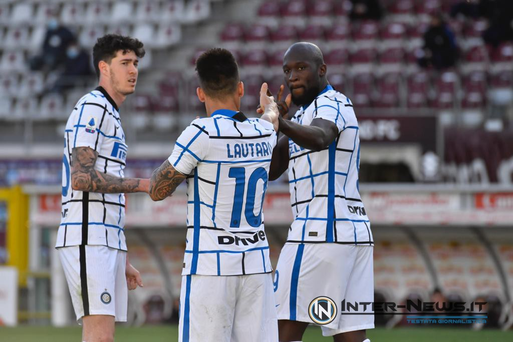 Alessandro Bastoni, Lautaro Martinez e Romelu Lukaku in Torino-Inter (Photo by Tommaso Fimiano, Copyright Inter-News.it)