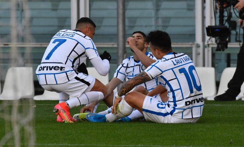Alexis Sanchez, Lautaro Martinez e Achraf Hakimi in Torino-Inter (Photo by Tommaso Fimiano, Copyright Inter-News.it)