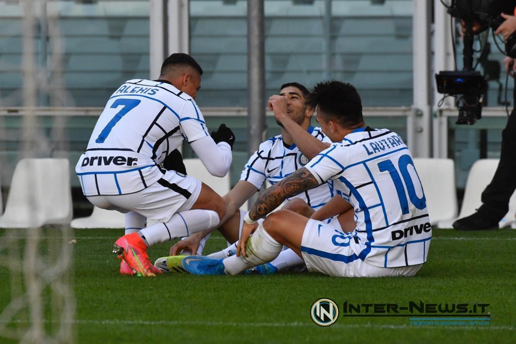 Alexis Sanchez, Lautaro Martinez e Achraf Hakimi in Torino-Inter, copyright Inter-News.it, foto Tommaso Fimiano