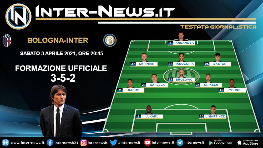 Bologna-Inter la formazione ufficiale di Conte