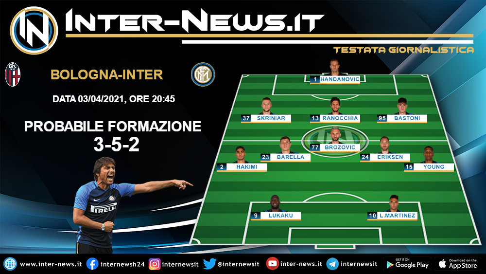 Bologna-Inter, la probabile formazione di Conte