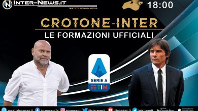 Crotone-Inter - Le formazioni ufficiali