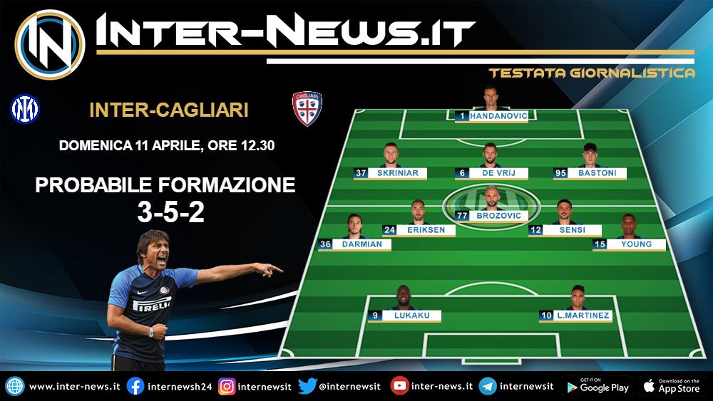 Inter-Cagliari la probabile formazione dell'Inter di Conte