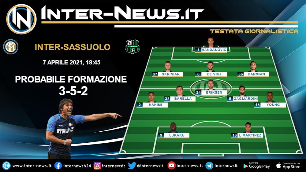 Inter-Sassuolo la probabile formazione dell'Inter di Conte