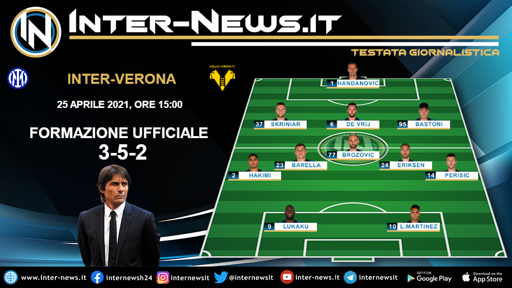 Inter-Verona le formazioni ufficiali
