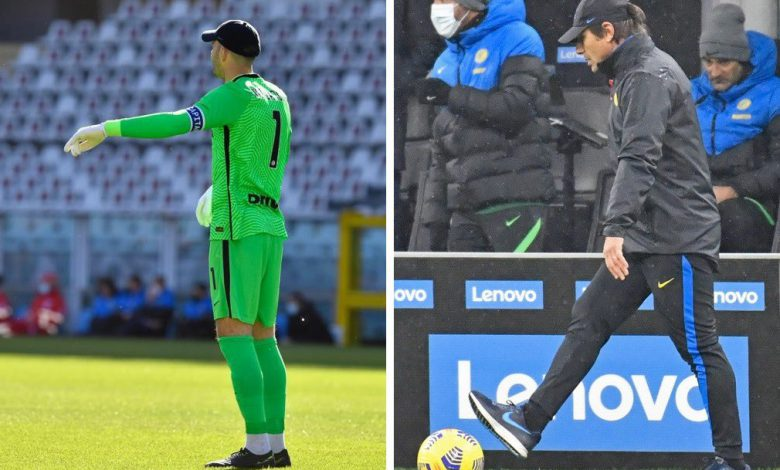 Samir Handanovic - Antonio Conte (Photos by Tommaso Fimiano, Copyright Inter-News.it)