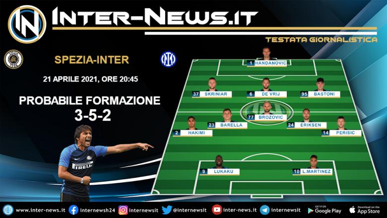 Spezia-Inter la probabile formazione di Conte