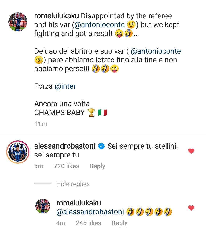Lukaku - Bastoni - Instagram