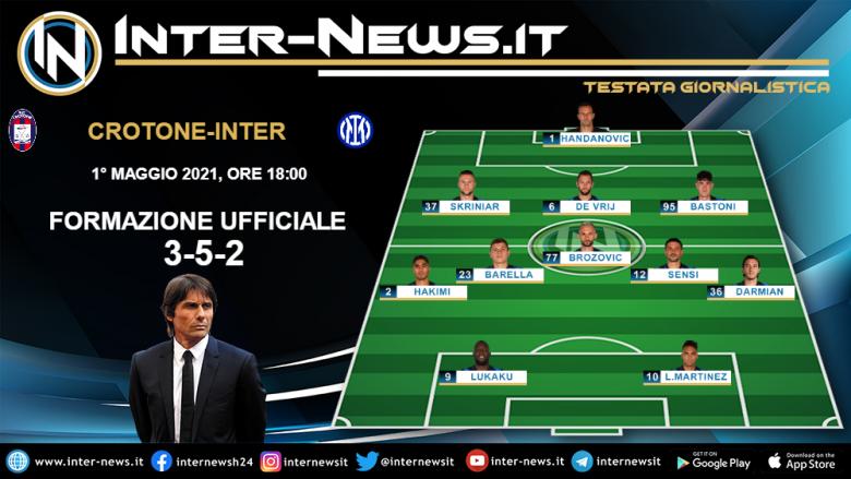 Crotone-Inter la formazione ufficiale di Conte