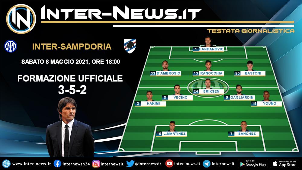 Inter-Sampdoria la formazione ufficiale