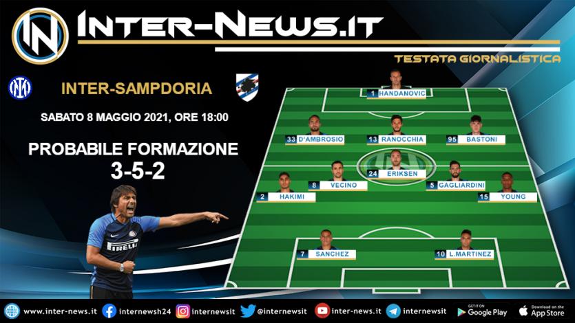 Inter-Sampdoria la probabile formazione di Conte