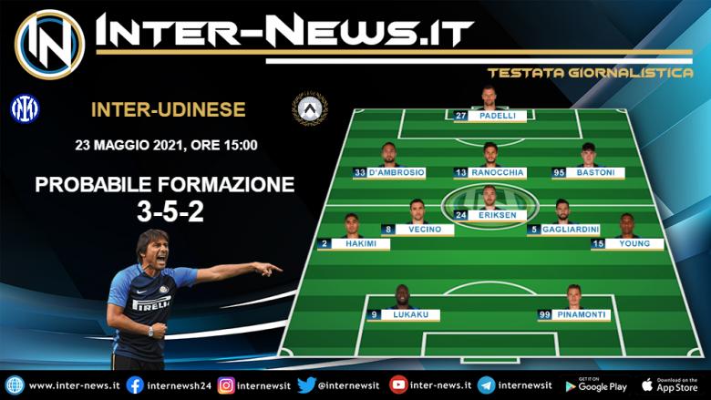 Inter-Udinese la probabile formazione di Conte