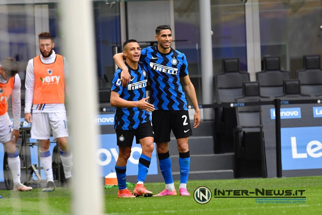 Alexis Sanchez e Achraf Hakimi in Inter-Sampdoria (Photo by Tommaso Fimiano, Copyright Inter-News.it)