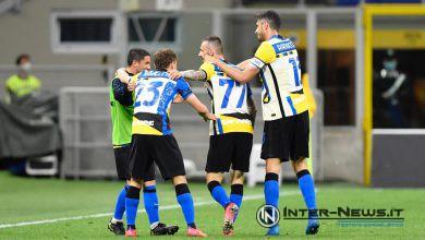 Nicolò Barella, Marcelo Brozovic e Andrea Ranocchia con Stefano Sensi in Inter-Roma (Photo by Tommaso Fimiano, Copyright Inter-News.it)