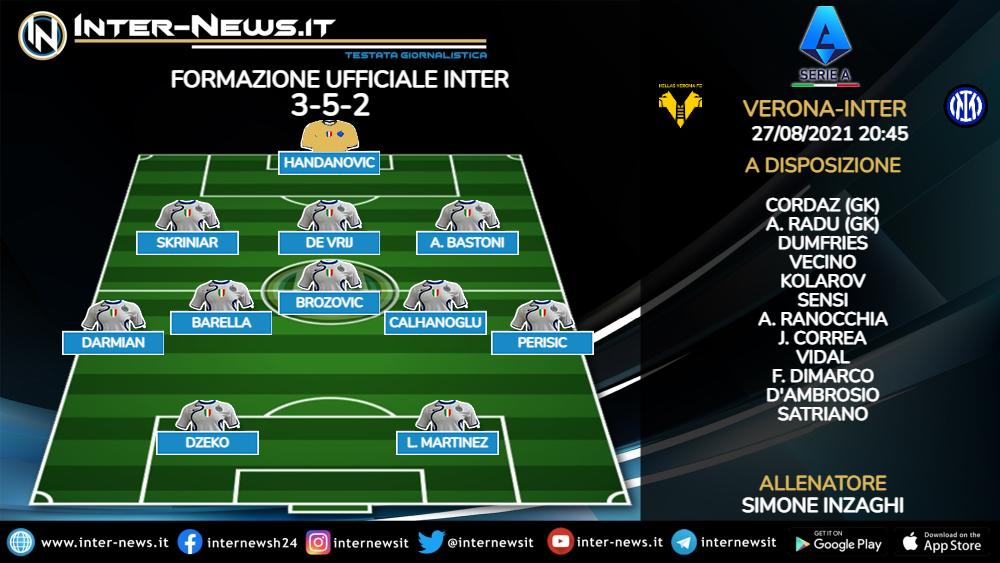 Hellas Verona-Inter formazione ufficiale