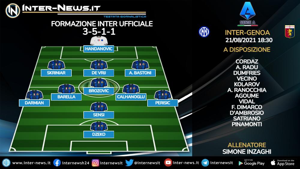 Inter-Genoa formazione ufficiale