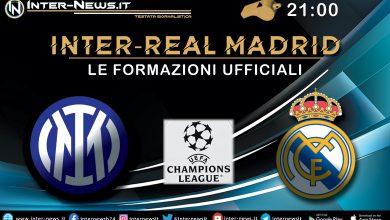Inter-Real Madrid - Le formazioni ufficiali