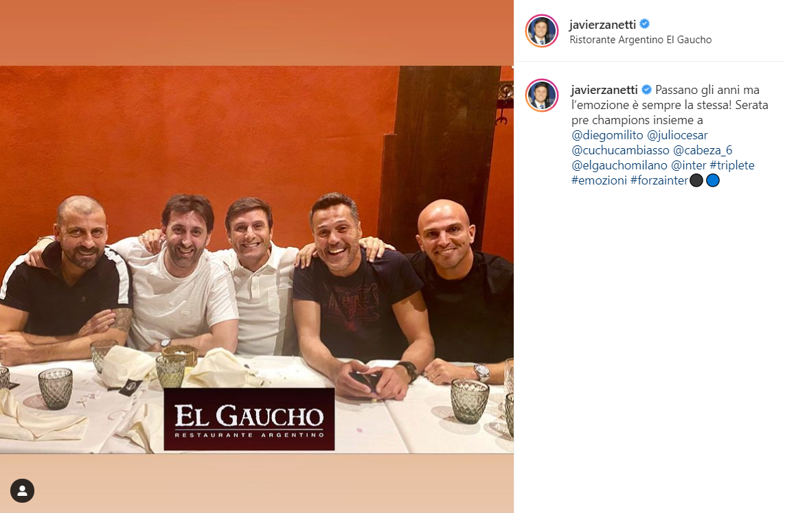 Javier Zanetti su Instagram (@javierzanetti)