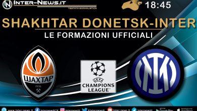 Shakhtar Donetsk-Inter - Le formazioni ufficiali