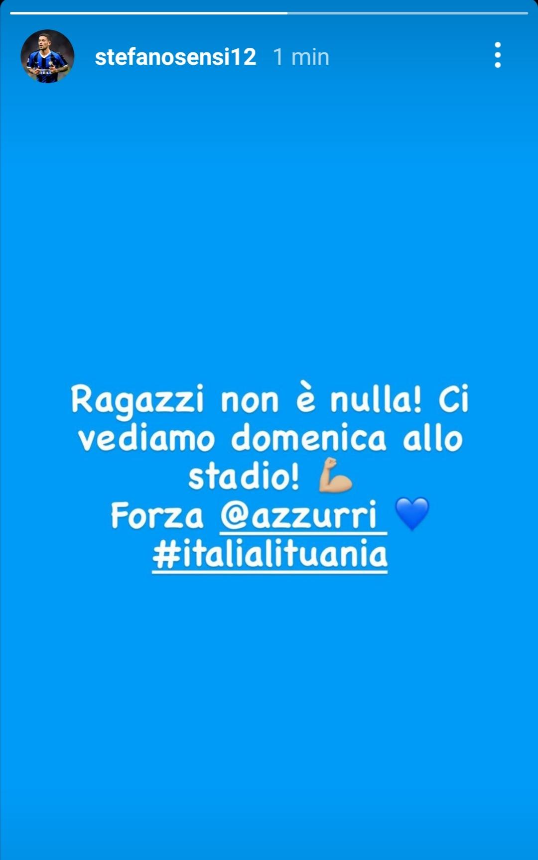 Stefano Sensi (Story Instagram, @stefanosensi12)