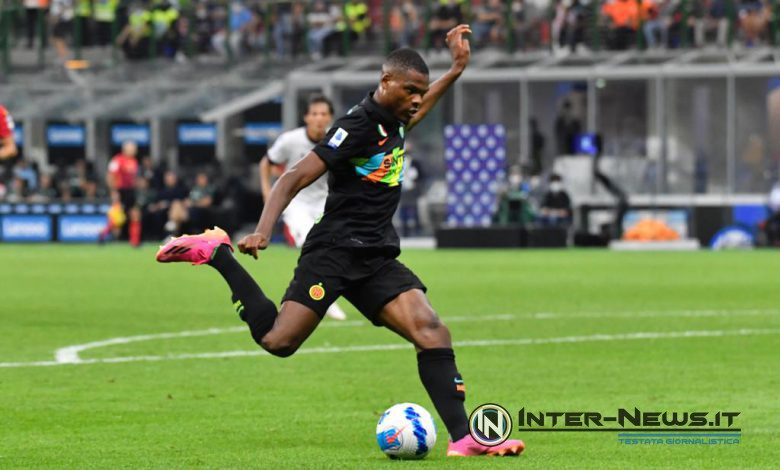 Denzel Dumfries in Inter-Bologna (Photo by Tommaso Fimiano, Copyright Inter-News.it)