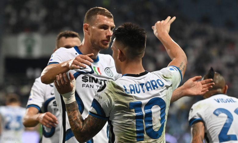 Edin Dzeko e Lautaro Martinez in Sassuolo-Inter
