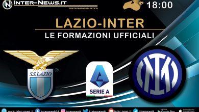 Lazio-Inter - Le formazioni ufficiali