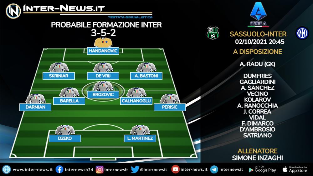Sassuolo-Inter probabile formazione Inzaghi